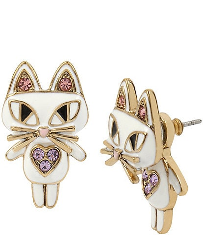 Betsey Johnson Cat Front/Back Statement Earrings