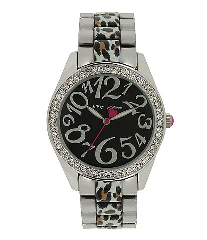 Betsey Johnson Cheetah Link Stainless Steel Bracelet Watch