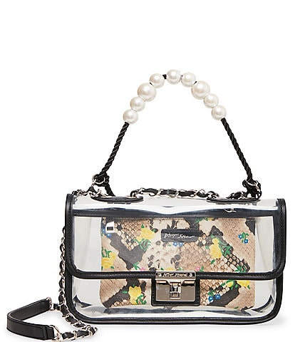 Betsey Johnson Clear Pearl Flap Shoulder Bag