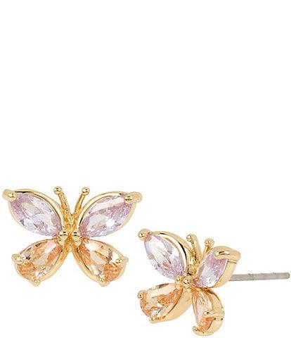 Betsey Johnson CZ Butterfly Stud Earrings