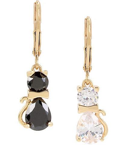 Betsey Johnson CZ Cat Drop Earrings