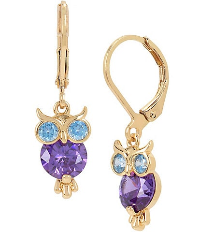 Betsey Johnson CZ Owl Drop Earrings