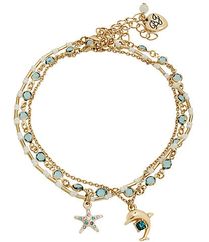 Betsey Johnson Dolphin Charm Anklet Set