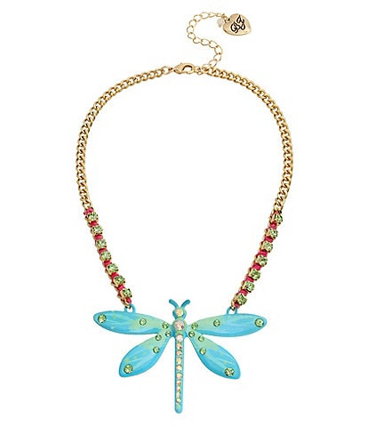 Betsey Johnson Dragonfly Pendant Statement Necklace