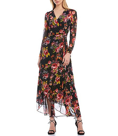 Betsey Johnson Floral Print Mesh Tulip Hem Long Sleeve Maxi Wrap Dress