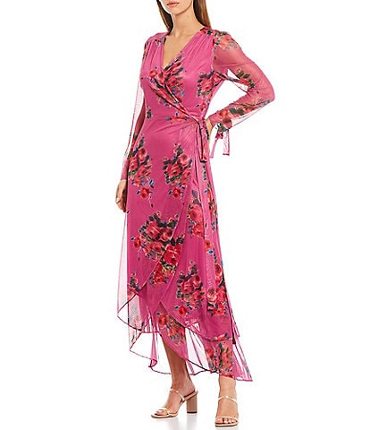 Betsey Johnson Floral Print Stretch Mesh Long Sheer Sleeve Hi-Low Wrap Maxi Dress