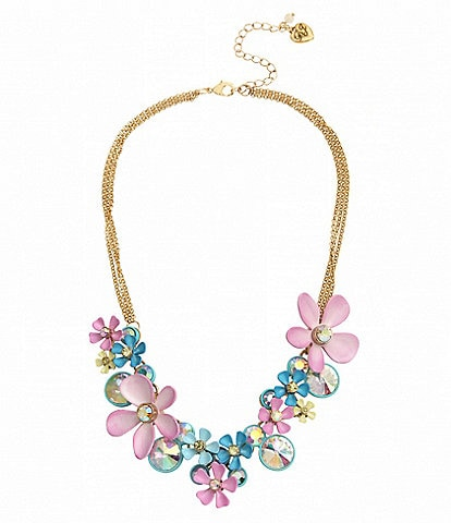 Betsey Johnson Flower Cluster Statement Necklace