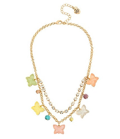 Betsey Johnson Gummy Butterfly Frontal Necklace