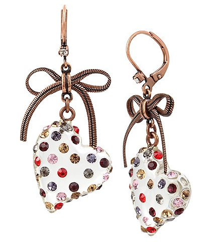 Betsey Johnson Heart Drop Earrings