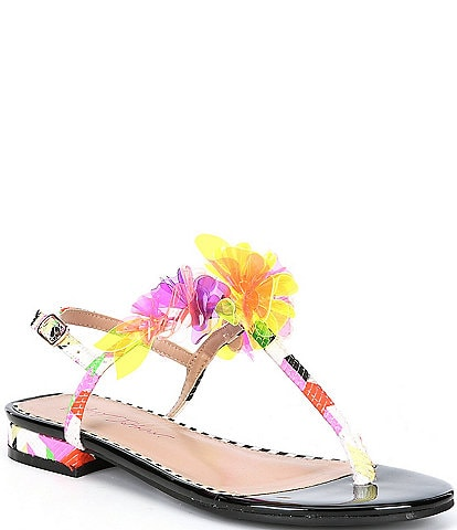 Betsey Johnson Hensly Flower Detail Printed T-Strap Sandals