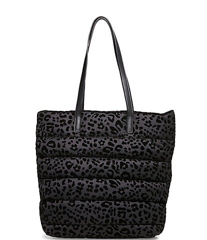 Betsey Johnson Hotty Dotty Velvet Leopard Print Puffer Tote Bag
