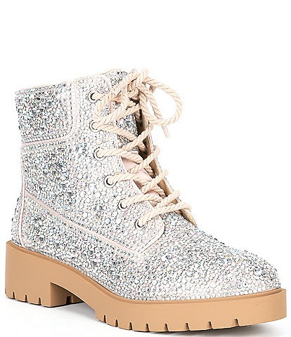 Blue by Betsey Johnson Hudson Rhinestone Lace-Up Combat Booties