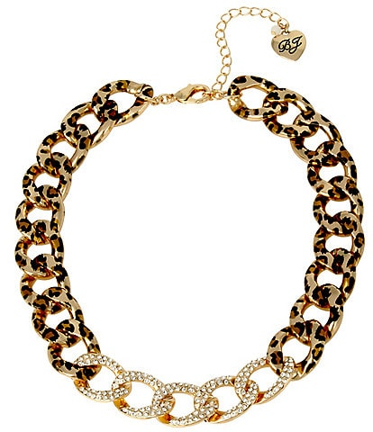 Betsey Johnson Leopard Link Collar Necklace