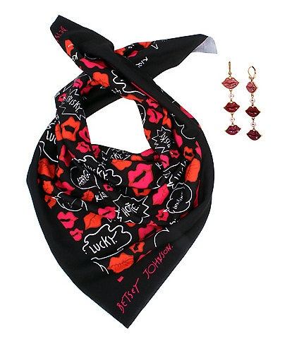Betsey Johnson Lips Earrings and Scarf Gift Set