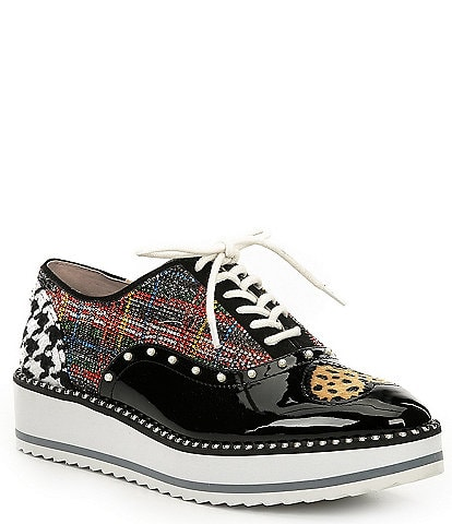 Betsey Johnson Marti Heart Rhinestone Plaid Platform Sneakers