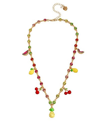 Betsey Johnson Mixed Fruit Charm Statement Necklace