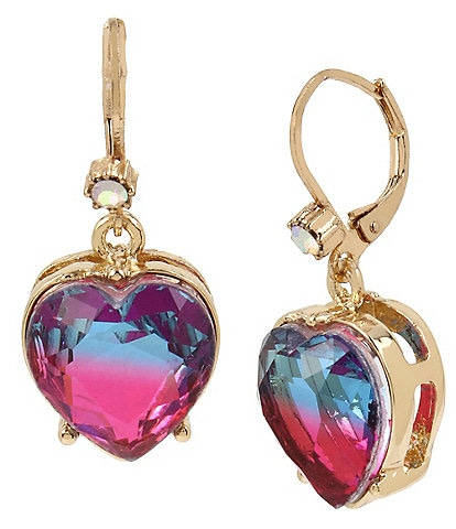 Betsey Johnson Ombre Stone Heart Drop Earrings