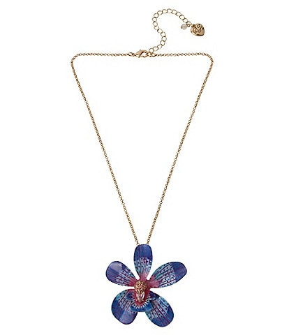 Betsey Johnson Orchid Pendant Necklace