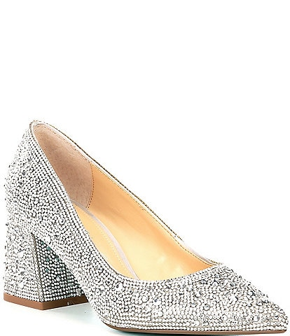 Blue by Betsey Johnson Paige Rhinestone Embellished Block Heel Pumps