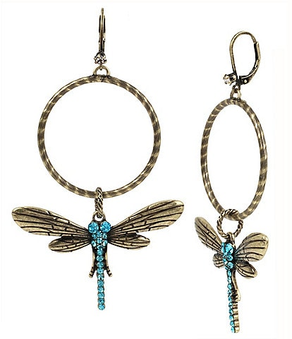 Betsey Johnson Pav Dragonfly Hoop Statement Earrings