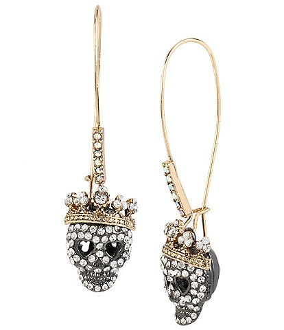 Betsey Johnson Pav Skull Long Drop Statement Earrings