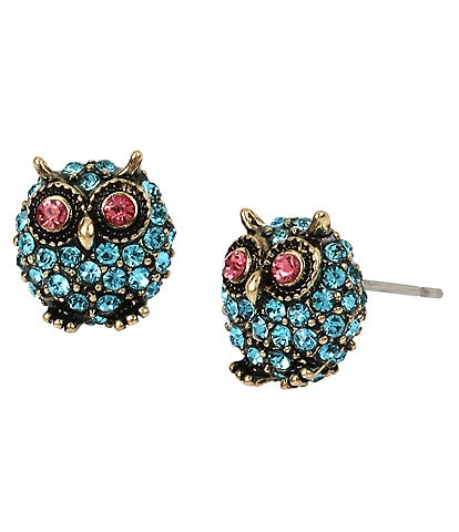 Betsey Johnson Pave Owl Stud Earrings