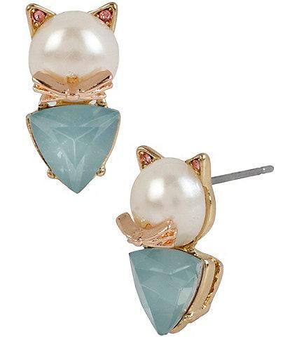Betsey Johnson Pearl Cat Stud Earrings