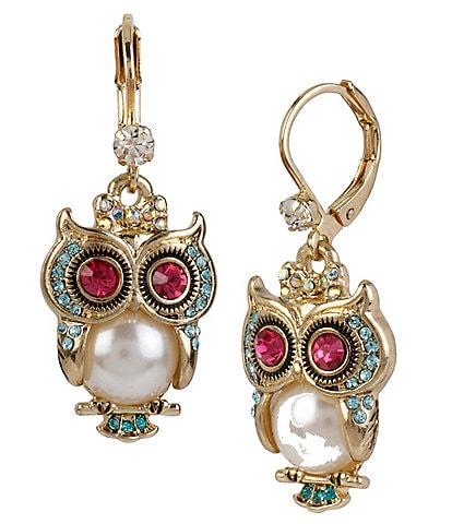 Betsey Johnson Pearl Owl Drop Earrings
