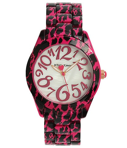 Betsey Johnson Pink Cheetah Printed Bracelet Watch