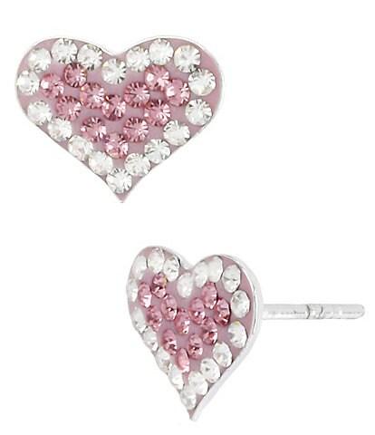 Betsey Johnson Pink Pav Heart Stud Earrings