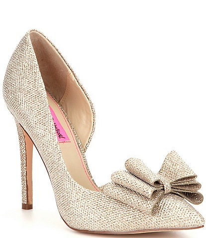 Betsey Johnson Metallic Bow Detail Prince Pumps