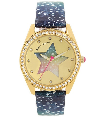 Betsey Johnson Rainbow Starry Dial Celestial Strap Watch