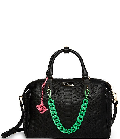 Betsey Johnson Resin Chain Cobra Quilted Satchel Bag