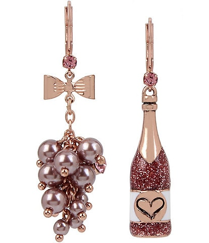 Betsey Johnson Rose Mismatch Statement Drop Earrings