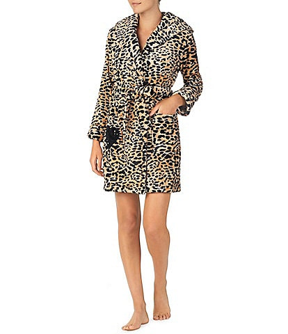 Betsey Johnson Royal Plush Animal Print Short Hoodie Wrap Robe