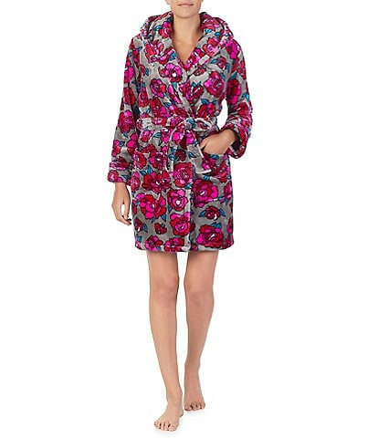 Betsey Johnson Royal Plush Floral Print Hoodie Short Wrap Robe