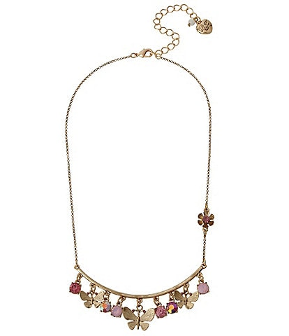 Betsey Johnson Shaky Butterfly Charm Necklace