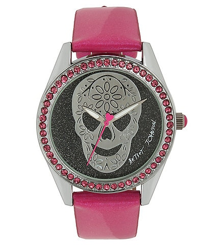 Betsey Johnson Skull Dial Pink Strap Watch