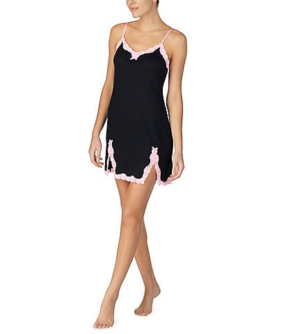Betsey Johnson Solid & Lace Knit Chemise