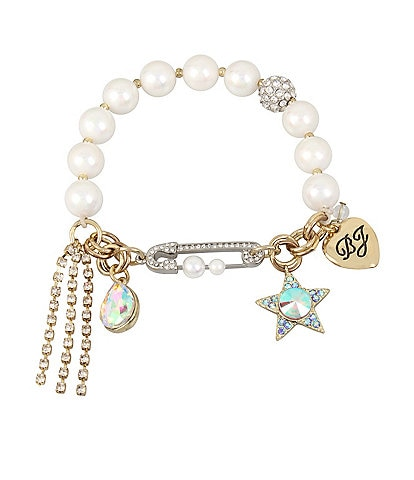 Betsey Johnson Star & Stone Charm Pearl Stretch Bracelet
