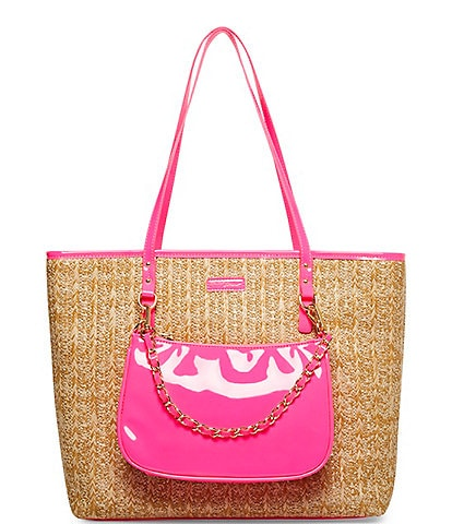 Betsey Johnson Straw Bright 2-in-1 Zip Top Shoulder Tote Bag