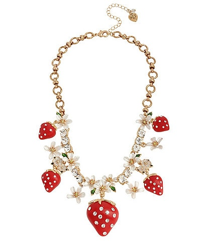 Betsey Johnson Strawberry Frontal Statement Necklace