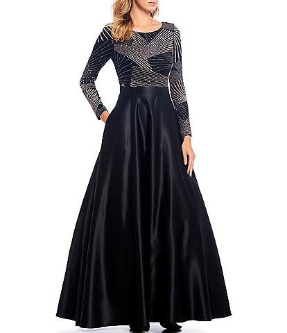 Betsy & Adam Beaded Bodice Long Sleeve Ballgown