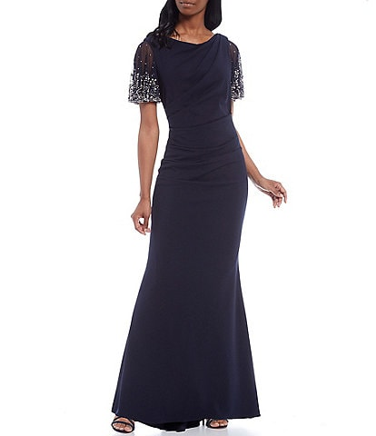 Betsy & Adam Beaded Flutter Sleeve Scuba Crepe Gown