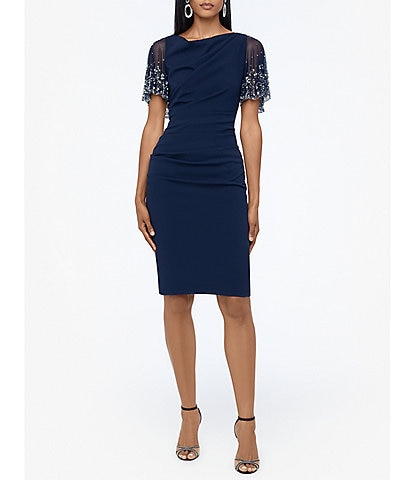 Betsy & Adam Beaded Short Sleeve Stretch Scuba Ruched Sheath Dress