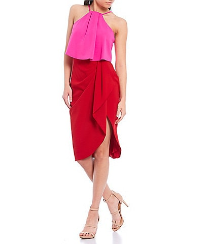 Betsy & Adam Color Block Pop Over Stretch Crepe Halter Sleeveless Dress