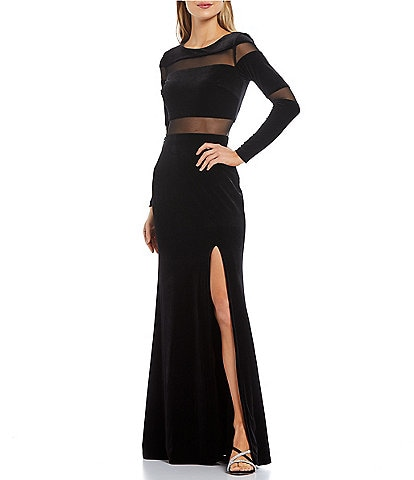 Betsy & Adam Crew Neck Long Sleeve Illusion Cut Out Slit Velvet Gown
