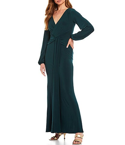 Betsy & Adam Deep V-Neck Long Sleeve Drape Front Knot Detail Jersey Gown