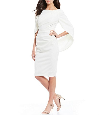 Betsy & Adam Drape Back 3/4 Sleeve Sheath Dress