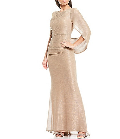 Betsy & Adam Drape Back Cape Sleeveless Metallic Crinkle Mermaid Gown